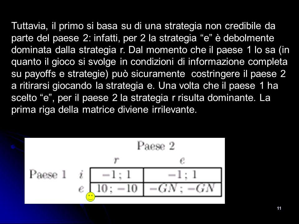 Tuttavia, il primo si basa su di una strategia non credibile da parte del paese 2: infatti, per 2 la strategia e è debolmente dominata dalla strategia r.