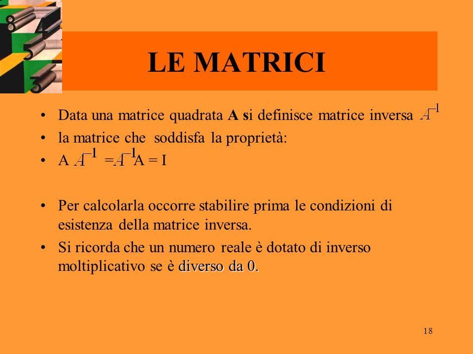 LE MATRICI Data una matrice quadrata A si definisce matrice inversa