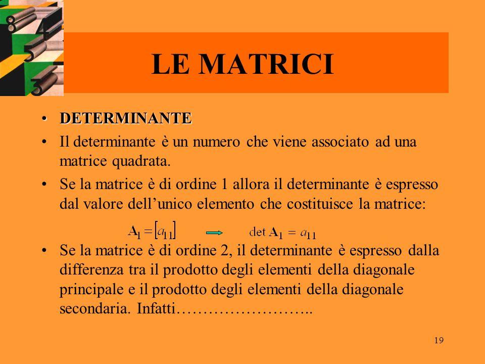 LE MATRICI DETERMINANTE
