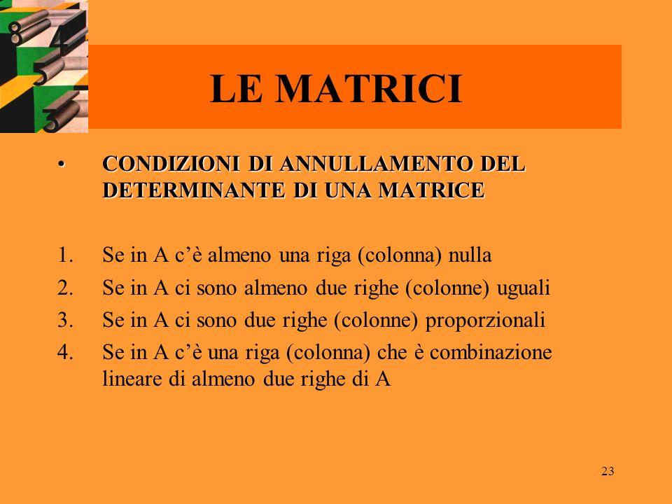 LE MATRICI CONDIZIONI DI ANNULLAMENTO DEL DETERMINANTE DI UNA MATRICE