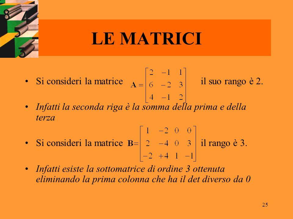 LE MATRICI Si consideri la matrice il suo rango è 2.