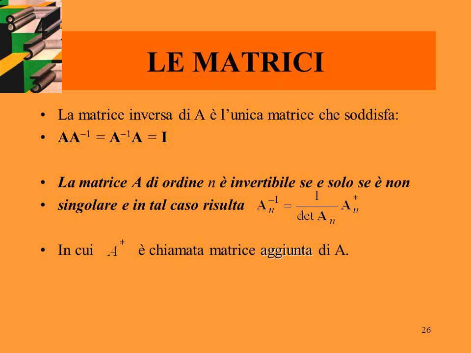 LE MATRICI La matrice inversa di A è l'unica matrice che soddisfa: