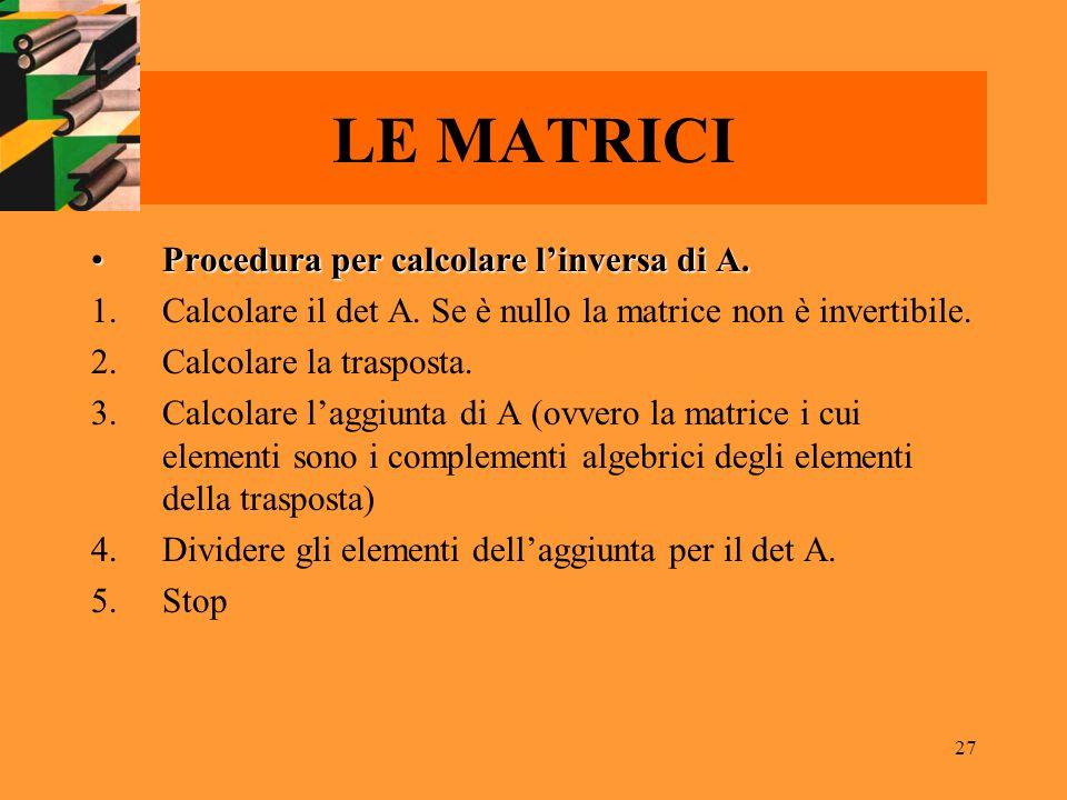 LE MATRICI Procedura per calcolare l'inversa di A.