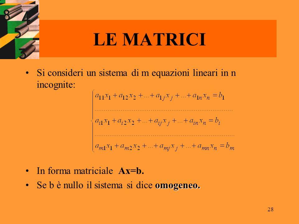 LE MATRICI Si consideri un sistema di m equazioni lineari in n incognite: In forma matriciale Ax=b.