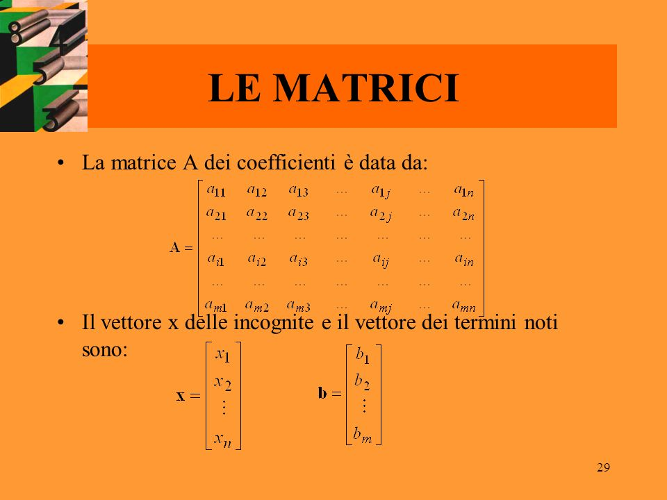 LE MATRICI La matrice A dei coefficienti è data da: