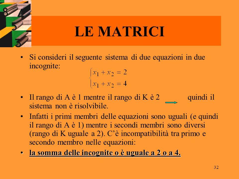 LE MATRICI Si consideri il seguente sistema di due equazioni in due incognite: