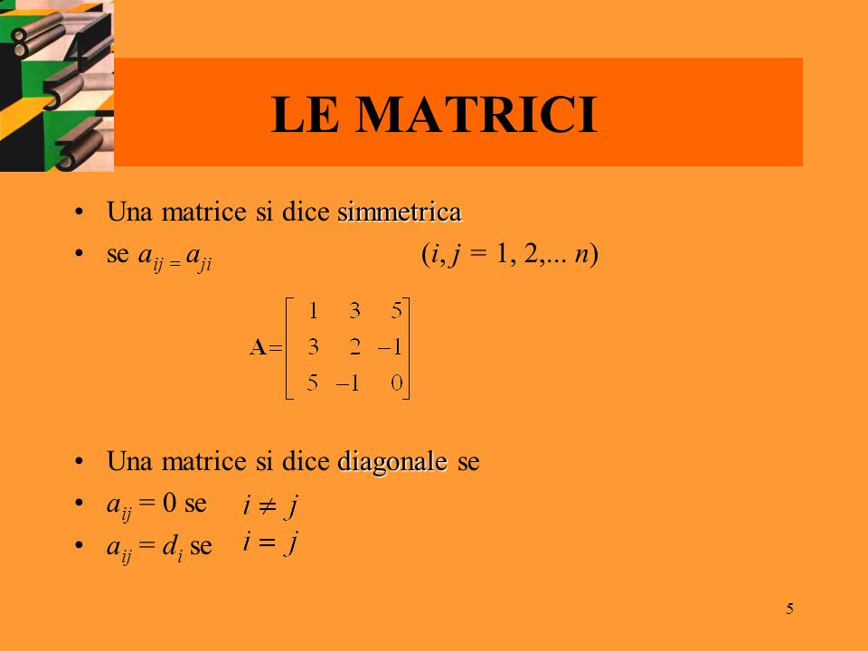 LE MATRICI Una matrice si dice simmetrica