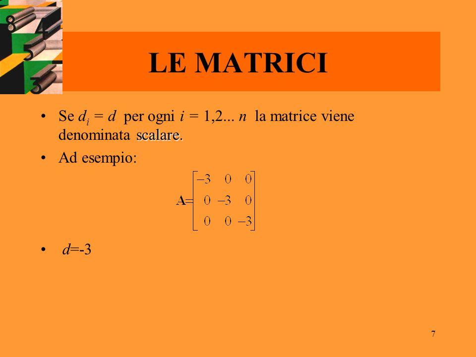 LE MATRICI Se di = d per ogni i = 1,2... n la matrice viene denominata scalare. Ad esempio: d=-3