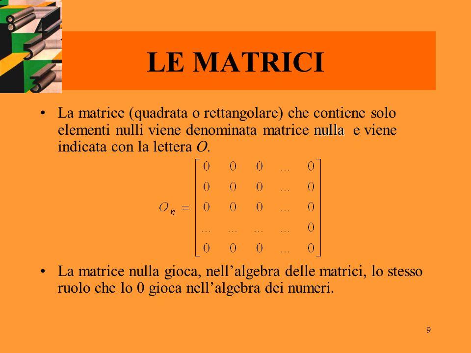 LE MATRICI La matrice (quadrata o rettangolare) che contiene solo elementi nulli viene denominata matrice nulla e viene indicata con la lettera O.