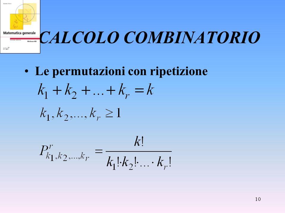 CALCOLO COMBINATORIO Le permutazioni con ripetizione