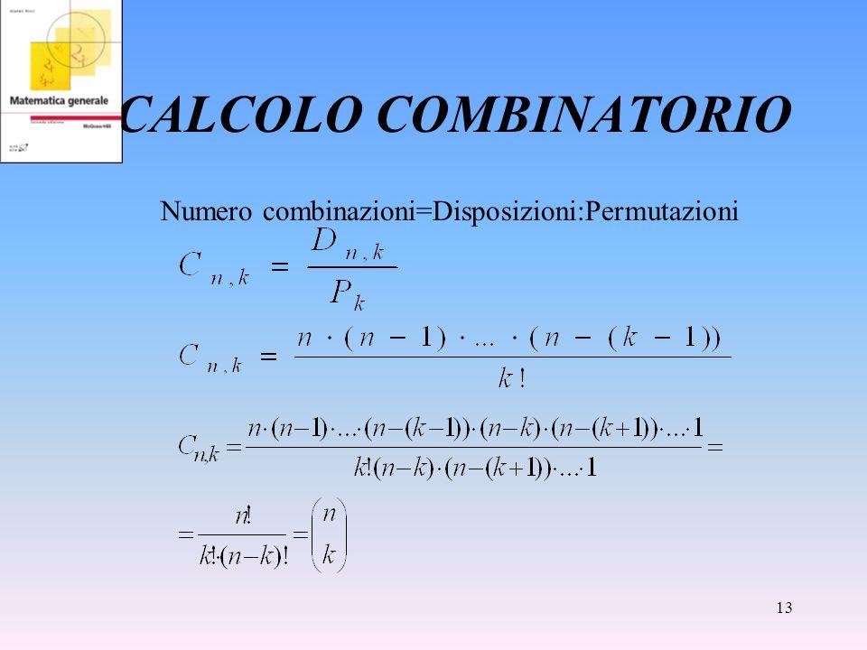 CALCOLO COMBINATORIO Numero combinazioni=Disposizioni:Permutazioni
