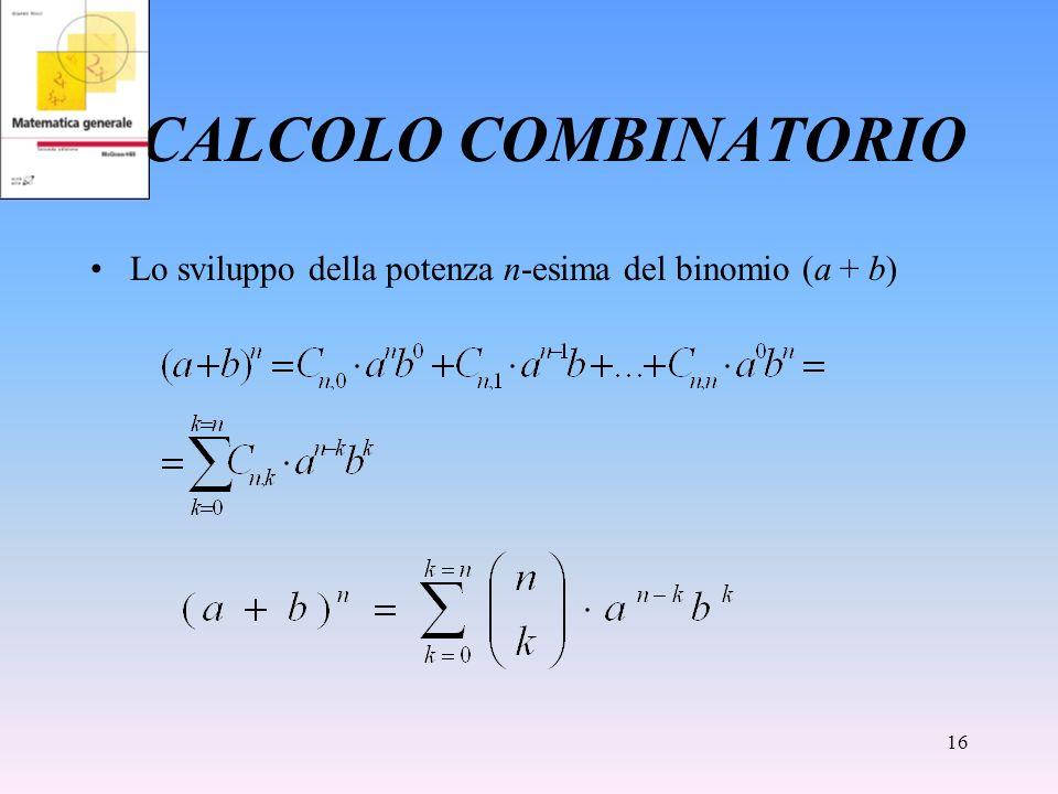 CALCOLO COMBINATORIO Lo sviluppo della potenza n-esima del binomio (a + b)