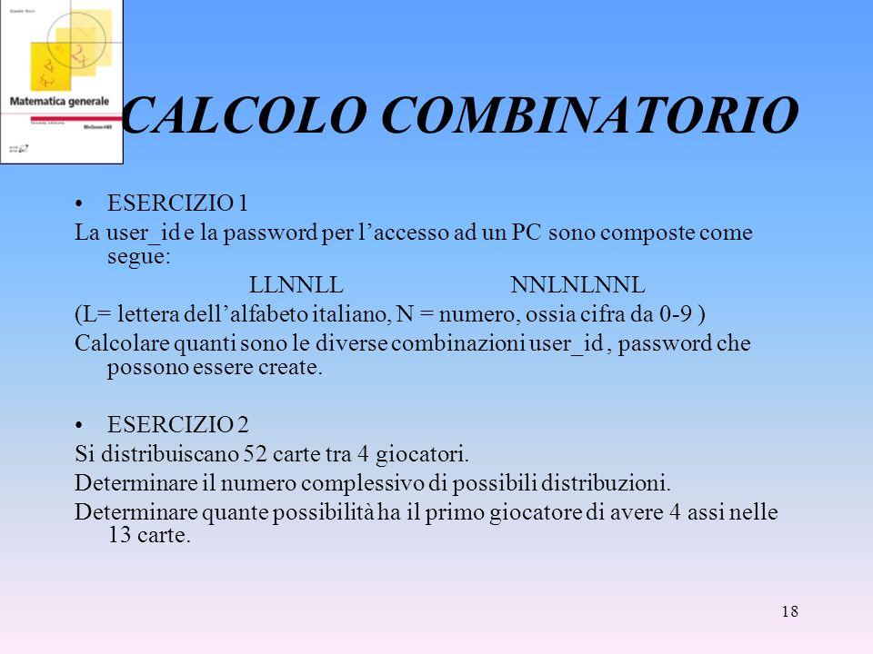 CALCOLO COMBINATORIO ESERCIZIO 1