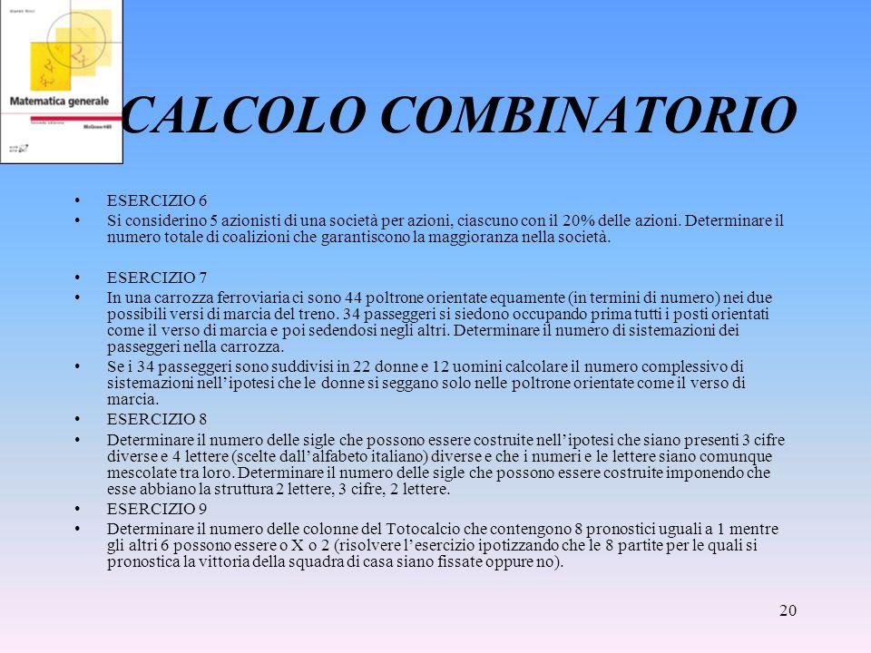 CALCOLO COMBINATORIO ESERCIZIO 6