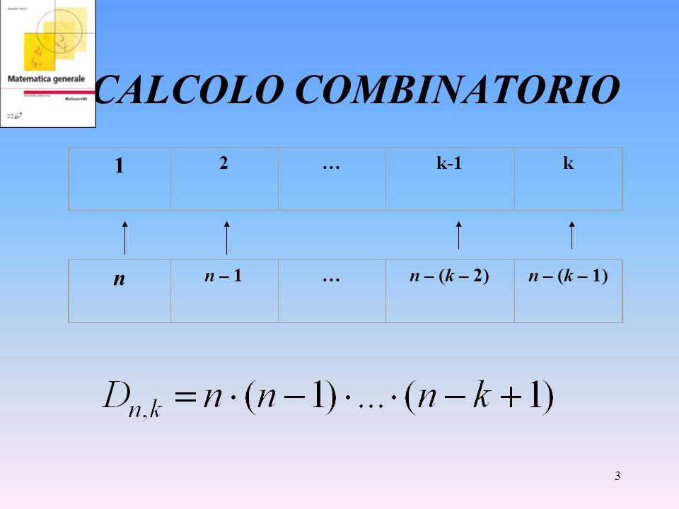 CALCOLO COMBINATORIO 1 2 … k-1 k n n – 1 … n – (k – 2) n – (k – 1)