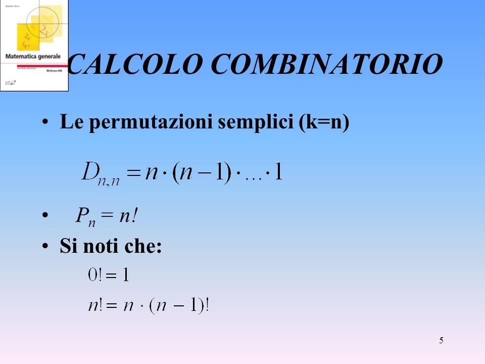 CALCOLO COMBINATORIO Le permutazioni semplici (k=n) Pn = n!