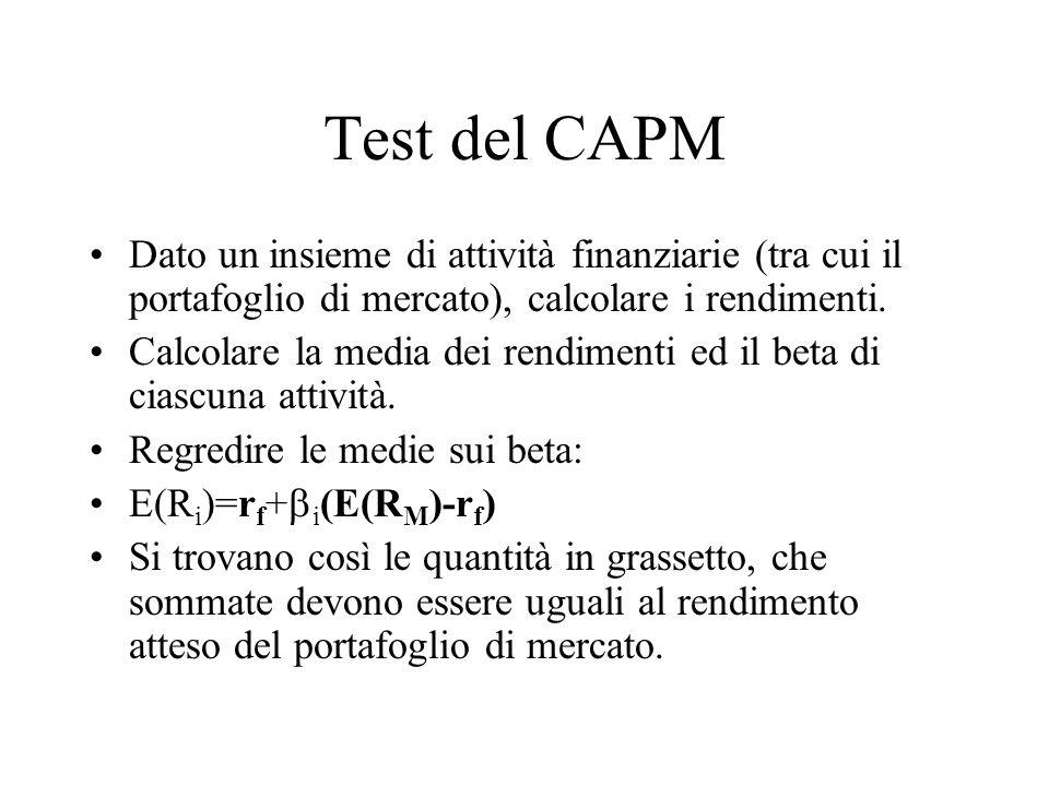 Test del CAPM Dato un insieme di attività finanziarie (tra cui il portafoglio di mercato), calcolare i rendimenti.