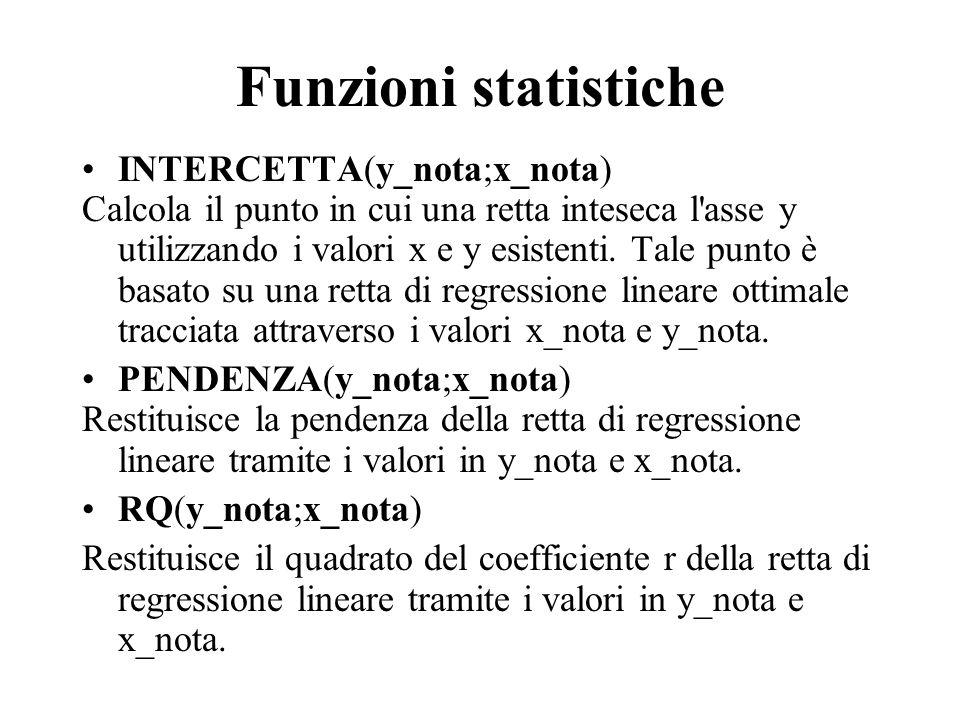 Funzioni statistiche INTERCETTA(y_nota;x_nota)
