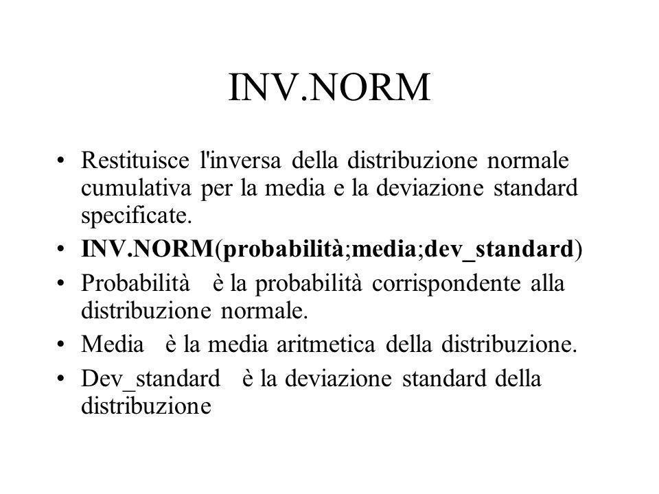 INV.NORM Restituisce l inversa della distribuzione normale cumulativa per la media e la deviazione standard specificate.