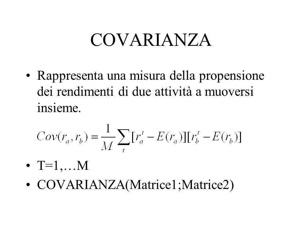 COVARIANZA Rappresenta una misura della propensione dei rendimenti di due attività a muoversi insieme.