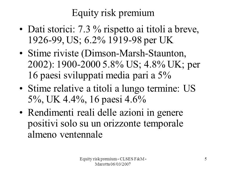Equity risk premium - CLSES F&M - Marotta 06/03/2007