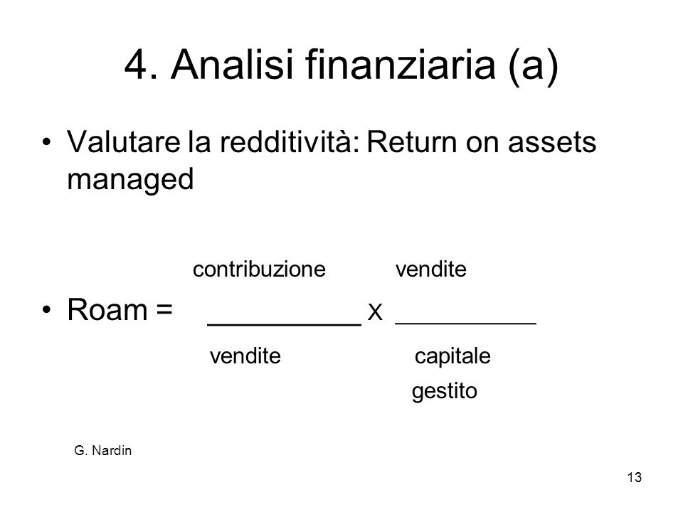 4. Analisi finanziaria (a)