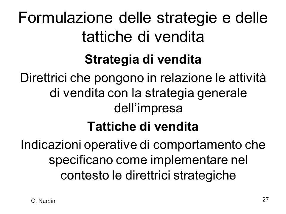 Formulazione delle strategie e delle tattiche di vendita