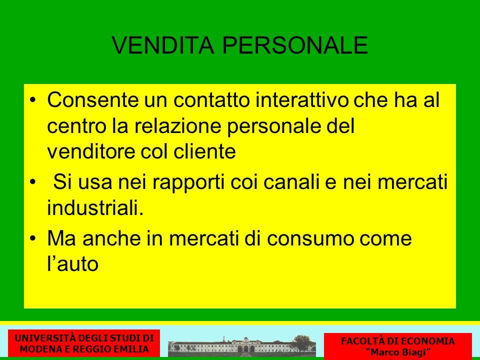 VENDITA PERSONALE Consente un contatto interattivo che ha al centro la relazione personale del venditore col cliente.