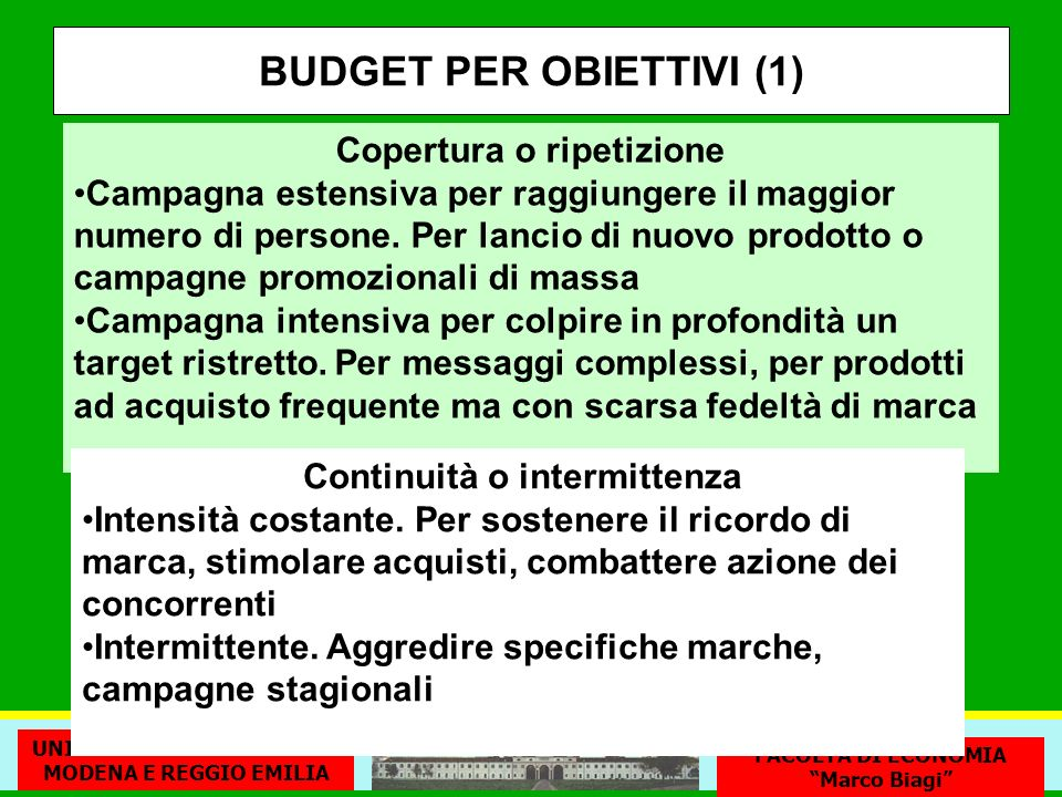 BUDGET PER OBIETTIVI (1)