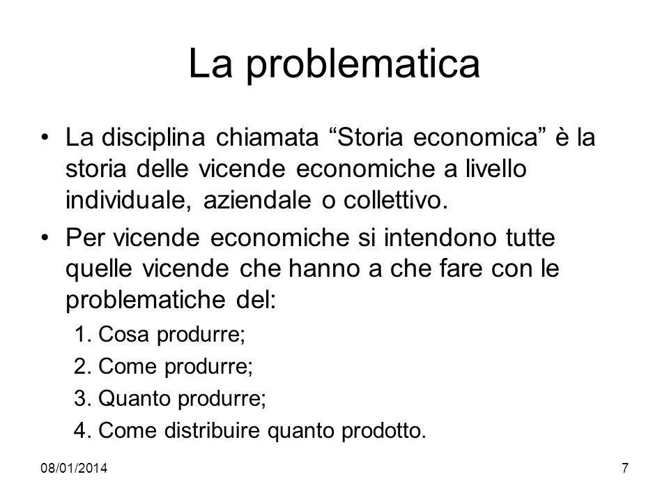 La problematica La disciplina chiamata Storia economica è la storia delle vicende economiche a livello individuale, aziendale o collettivo.