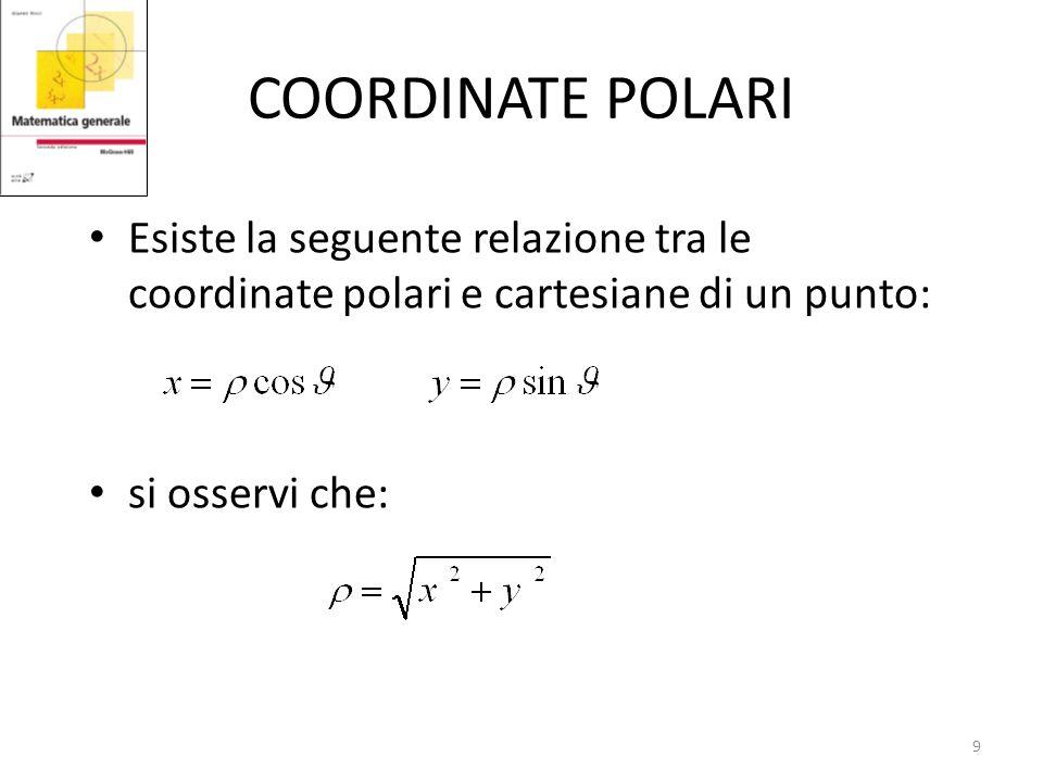 COORDINATE POLARI Esiste la seguente relazione tra le coordinate polari e cartesiane di un punto: si osservi che: