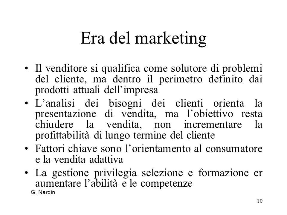 Era del marketingIl venditore si qualifica come solutore di problemi del cliente, ma dentro il perimetro definito dai prodotti attuali dell'impresa.