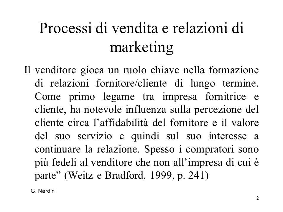 Processi di vendita e relazioni di marketing