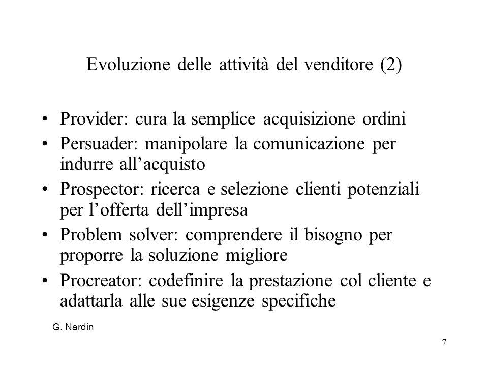 Evoluzione delle attività del venditore (2)