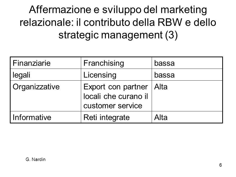 Affermazione e sviluppo del marketing relazionale: il contributo della RBW e dello strategic management (3)