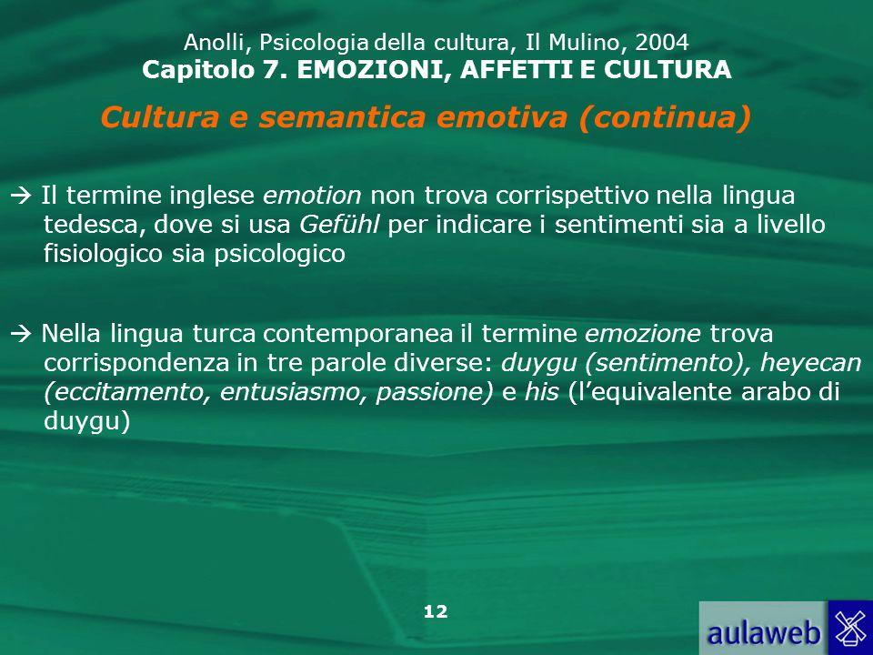 Cultura e semantica emotiva (continua)