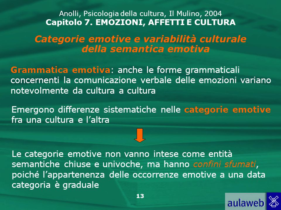Categorie emotive e variabilità culturale della semantica emotiva