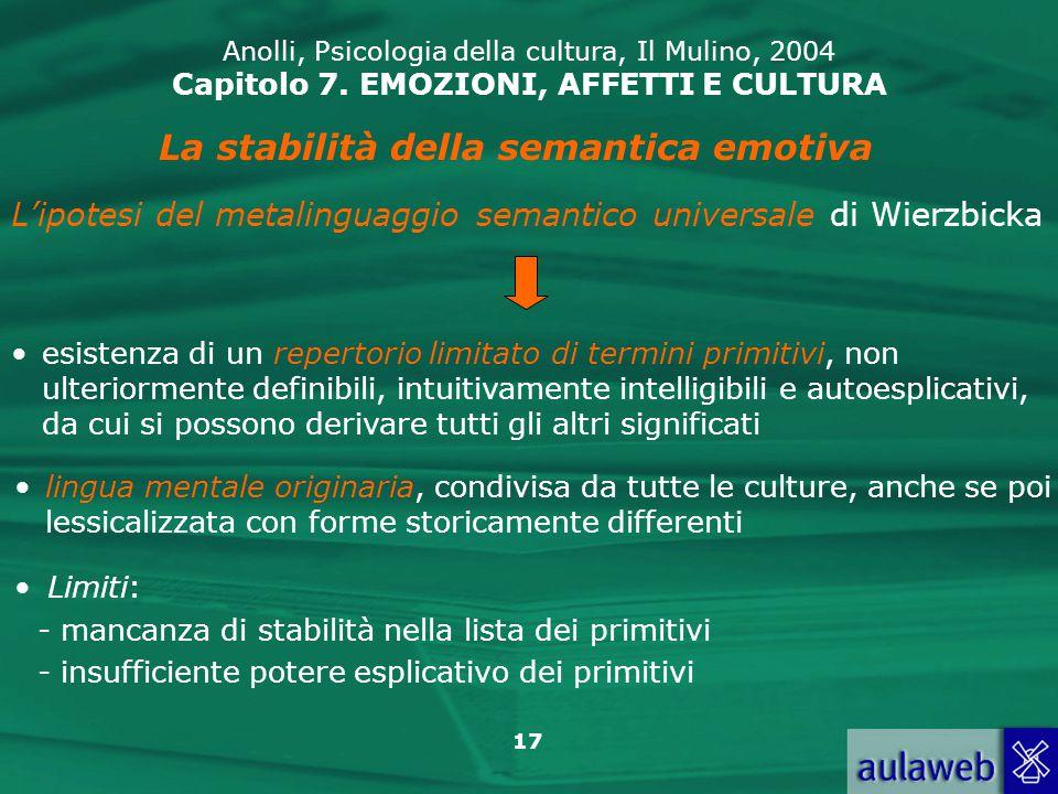 La stabilità della semantica emotiva