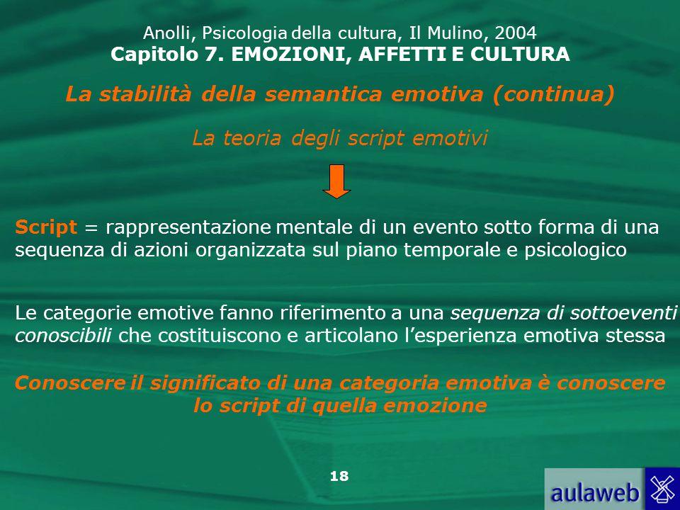 La stabilità della semantica emotiva (continua)