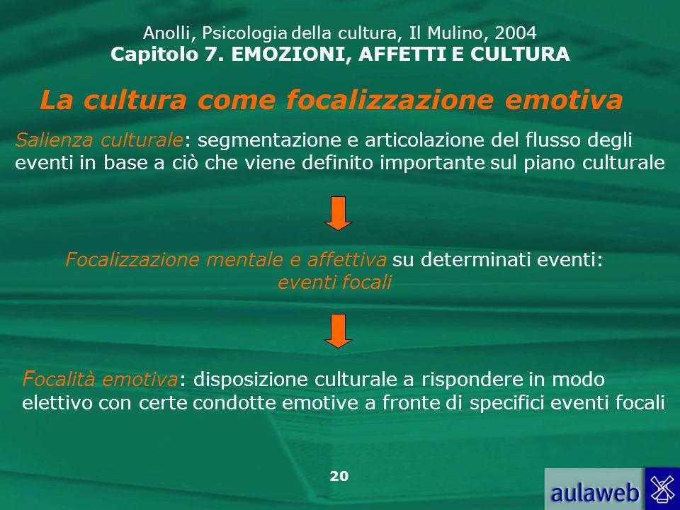 La cultura come focalizzazione emotiva
