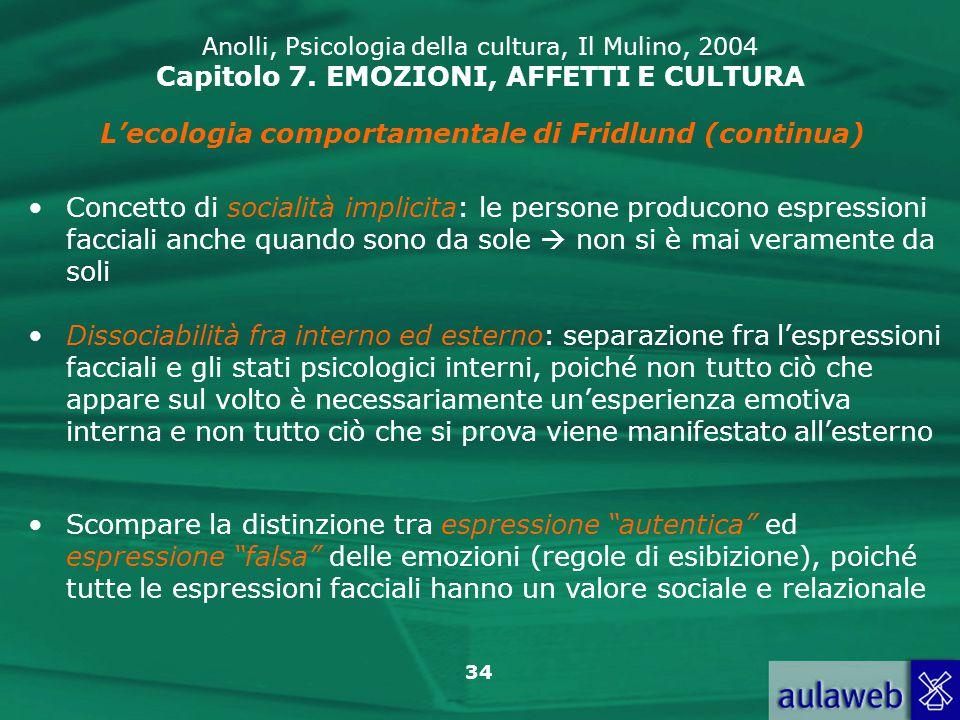 L'ecologia comportamentale di Fridlund (continua)