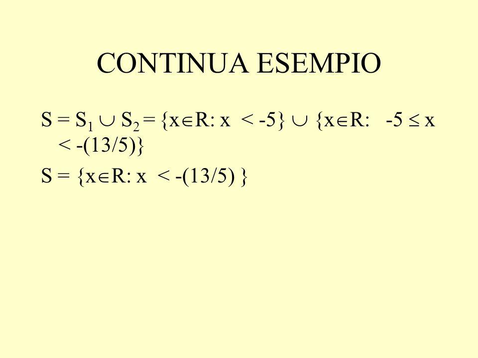 CONTINUA ESEMPIO S = S1  S2 = {xR: x < -5}  {xR: -5  x < -(13/5)} S = {xR: x < -(13/5) }