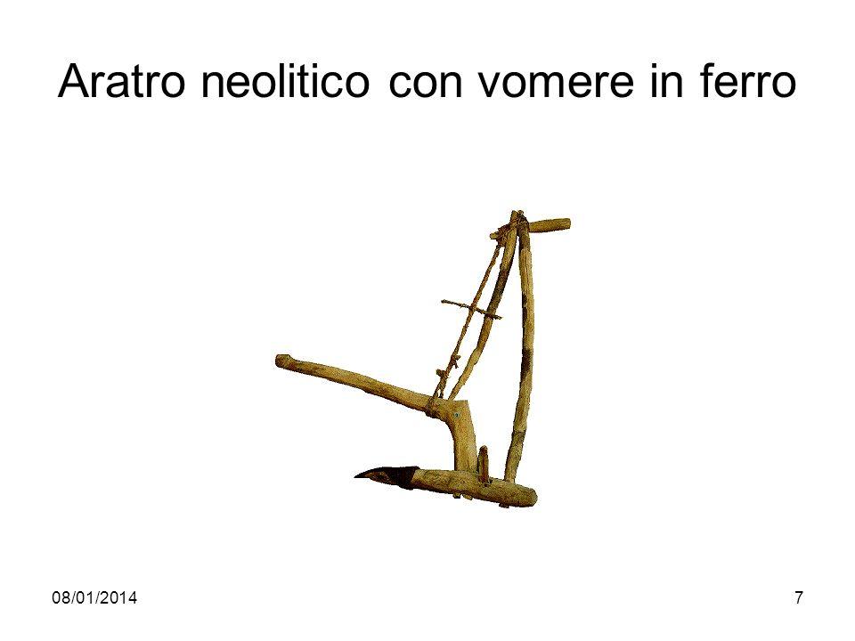Aratro neolitico con vomere in ferro
