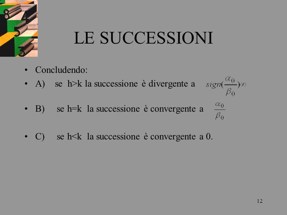 LE SUCCESSIONI Concludendo: A) se h>k la successione è divergente a