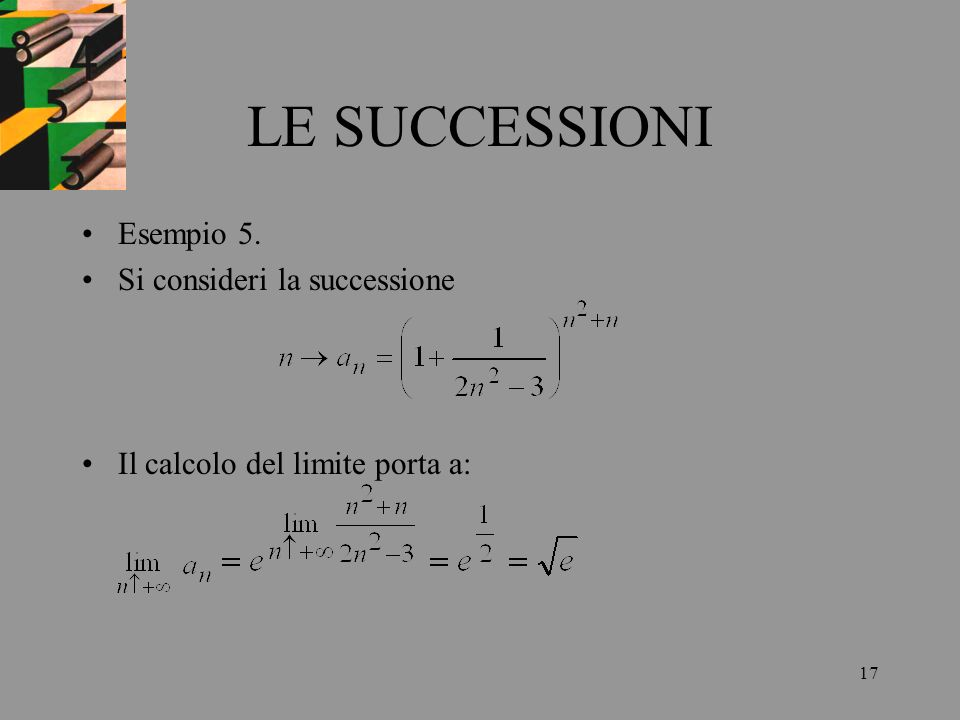 LE SUCCESSIONI Esempio 5. Si consideri la successione