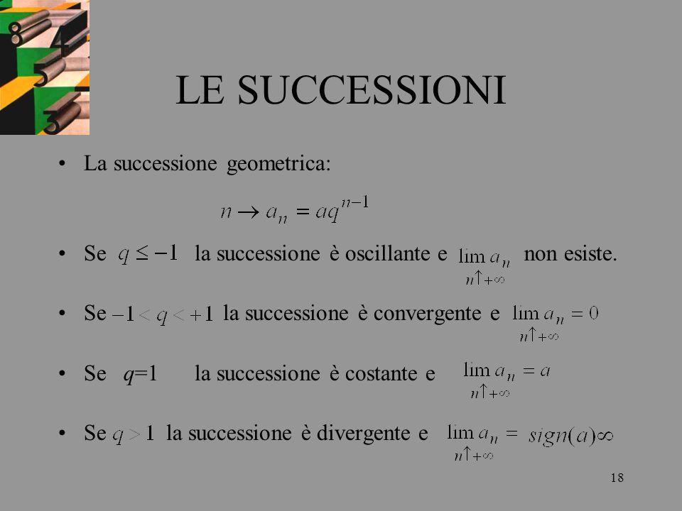LE SUCCESSIONI La successione geometrica:
