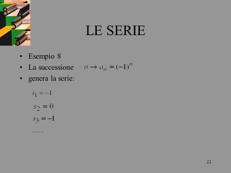 LE SERIE Esempio 8 La successione genera la serie: