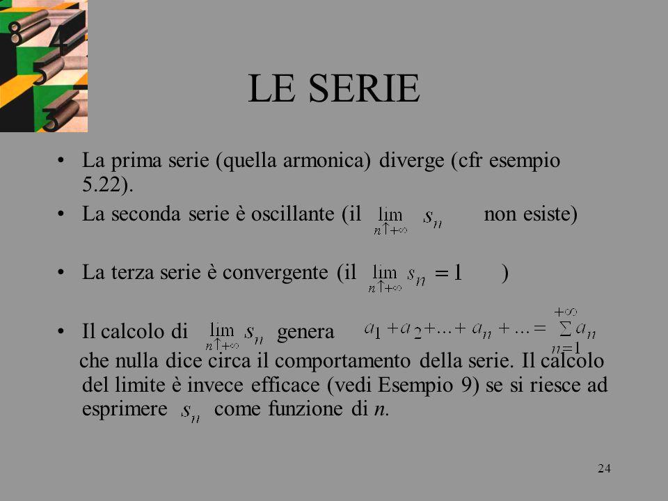 LE SERIE La prima serie (quella armonica) diverge (cfr esempio 5.22).