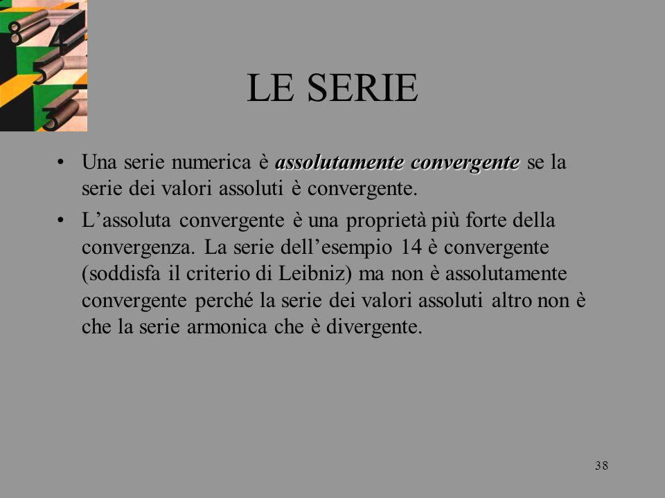 LE SERIE Una serie numerica è assolutamente convergente se la serie dei valori assoluti è convergente.