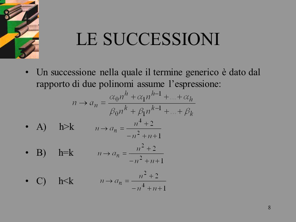 LE SUCCESSIONIUn successione nella quale il termine generico è dato dal rapporto di due polinomi assume l'espressione: